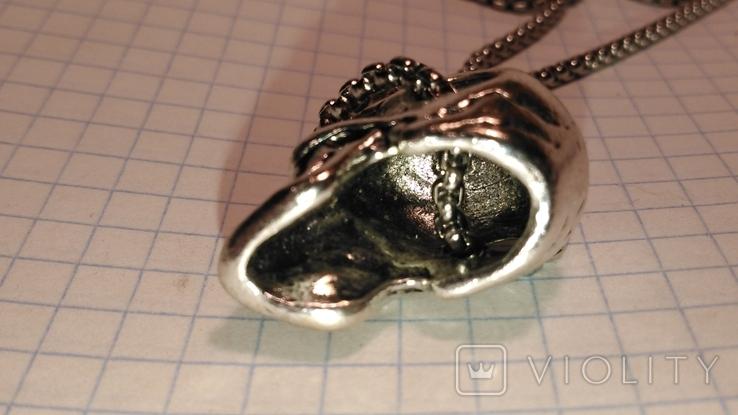 Кулон Череп из металла с цепочкой, фото №5