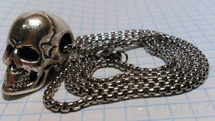 Кулон Череп из металла с цепочкой, фото №2