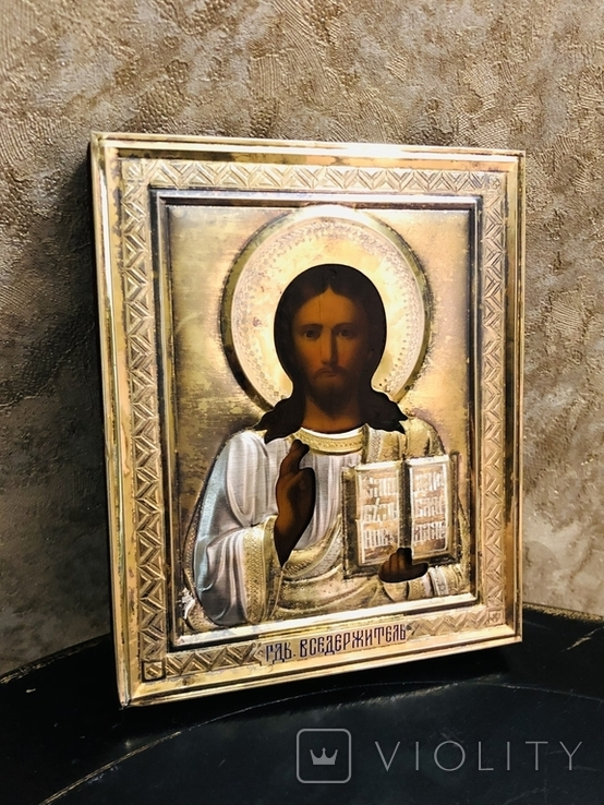 Икона Господь Вседержитель с эмалью., фото №5