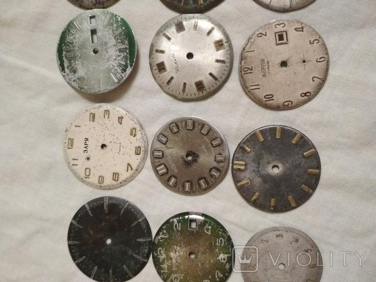 Циферблаты разные б/у на наручные часы 21 шт., фото №4