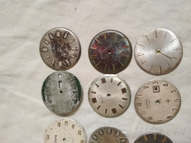 Циферблаты разные б/у на наручные часы 21 шт., фото №5