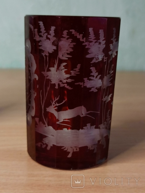 Старинный стеклянный набор. 2 чашки и вазочка., фото №3