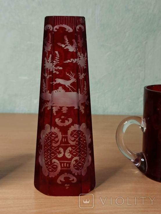 Старинный стеклянный набор. 2 чашки и вазочка., фото №5