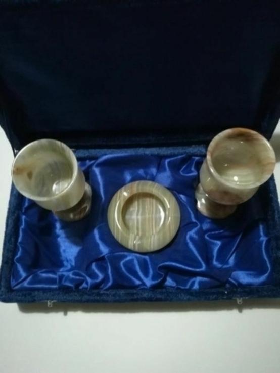 Комплект пепельница и два бокала из оникса, фото №3