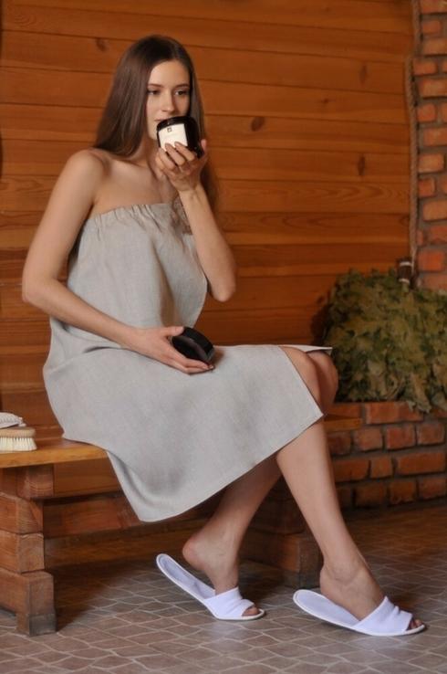 Жіноче парео для лазні з натурального нефарбованого льону, фото №2