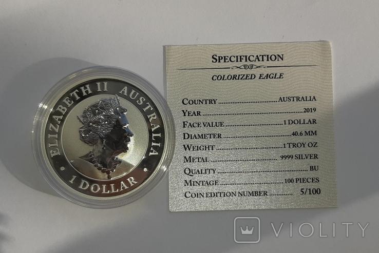 1 доллар 2019 г Орёл Австралии ,1 унция , 31.1 грамм., фото №7