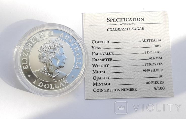 1 доллар 2019 г Орёл Австралии ,1 унция , 31.1 грамм., фото №8