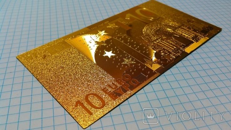 Сувенирная банкнота 10 Euro ( Евро) под золото, фото №4