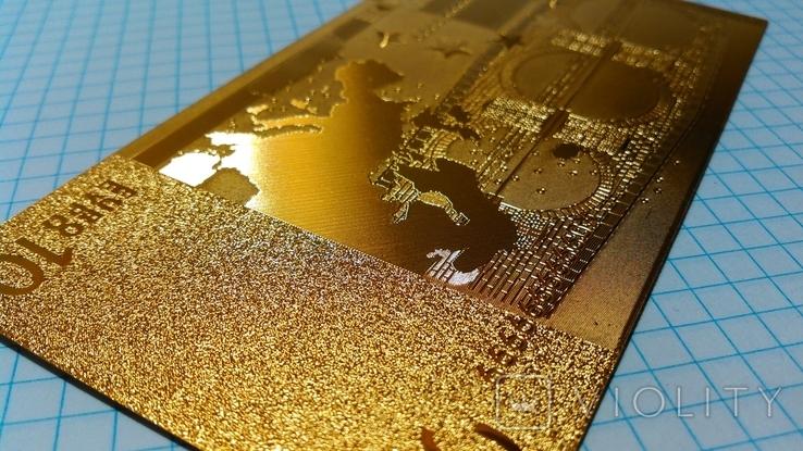 Сувенирная банкнота 10 Euro ( Евро) под золото, фото №5
