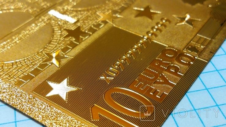 Сувенирная банкнота 10 Euro ( Евро) под золото, фото №6