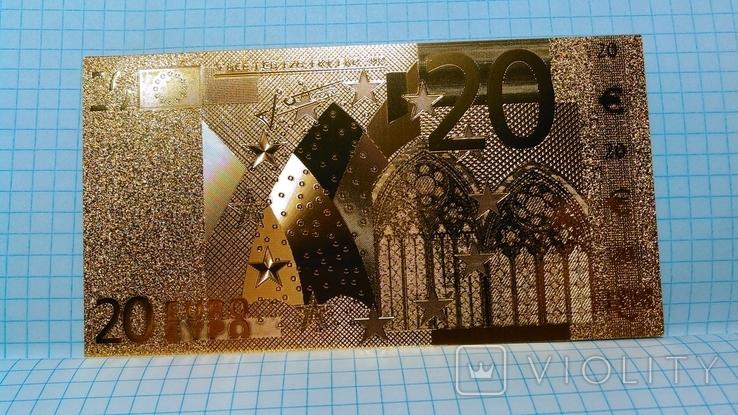 Сувенирная банкнота 20 Euro ( Евро) под золото, фото №2