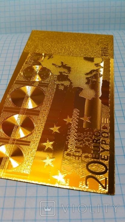 Сувенирная банкнота 20 Euro ( Евро) под золото, фото №4