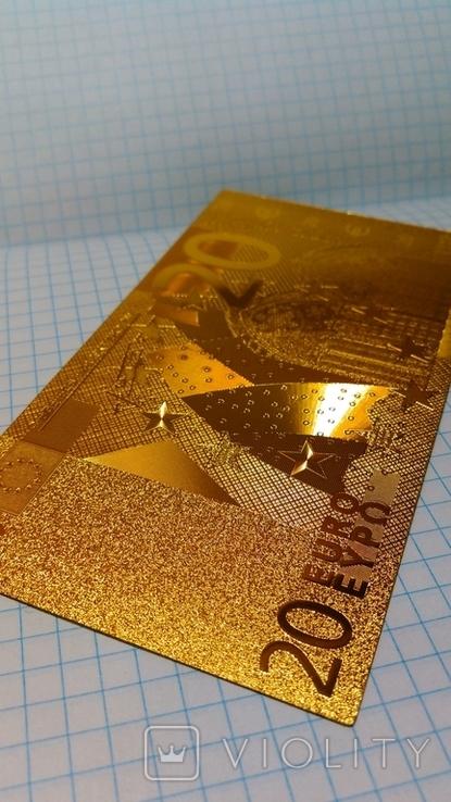 Сувенирная банкнота 20 Euro ( Евро) под золото, фото №5