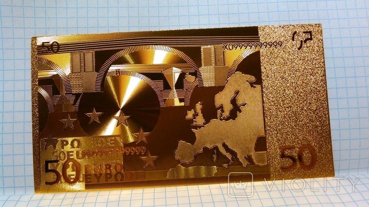 Сувенирная банкнота 50 Euro ( Евро) под золото, фото №2