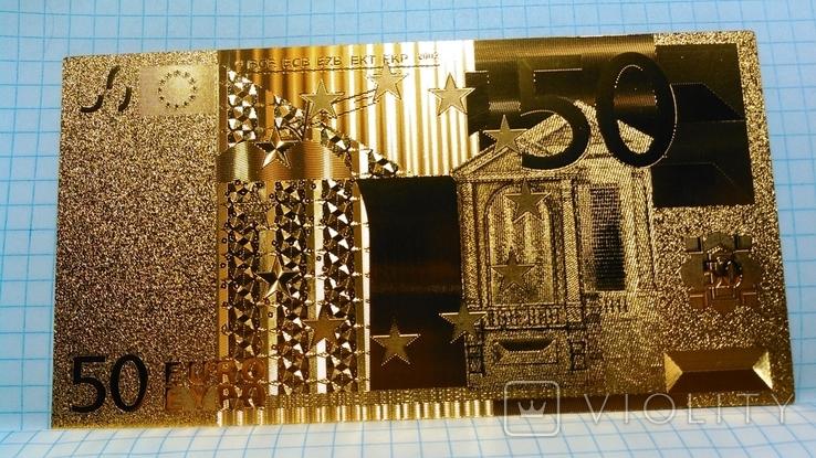 Сувенирная банкнота 50 Euro ( Евро) под золото, фото №3