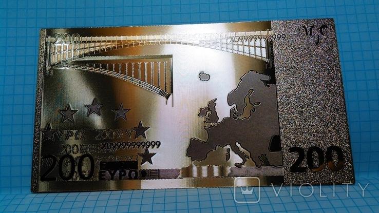 Сувенирная банкнота 200 Euro ( Евро) под золото, фото №2