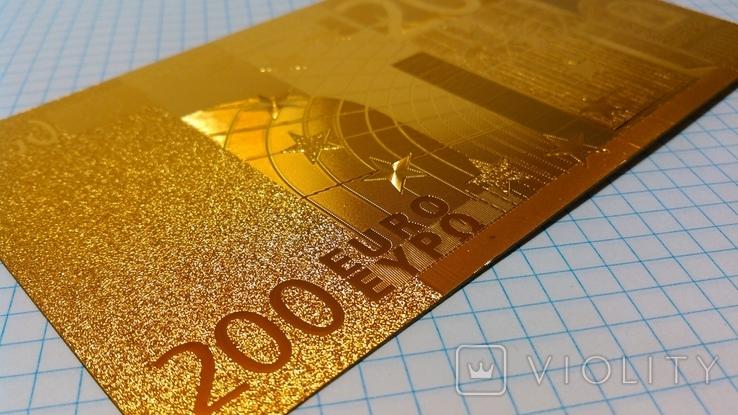 Сувенирная банкнота 200 Euro ( Евро) под золото, фото №4