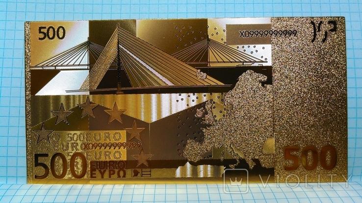 Сувенирная банкнота 500 Euro ( Евро) под золото, фото №3