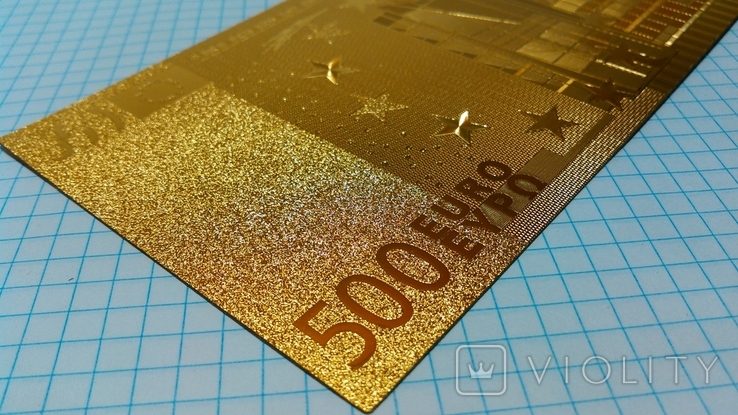 Сувенирная банкнота 500 Euro ( Евро) под золото, фото №7