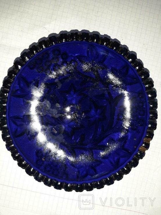 Пепельница из синего стекла СССР, фото №2