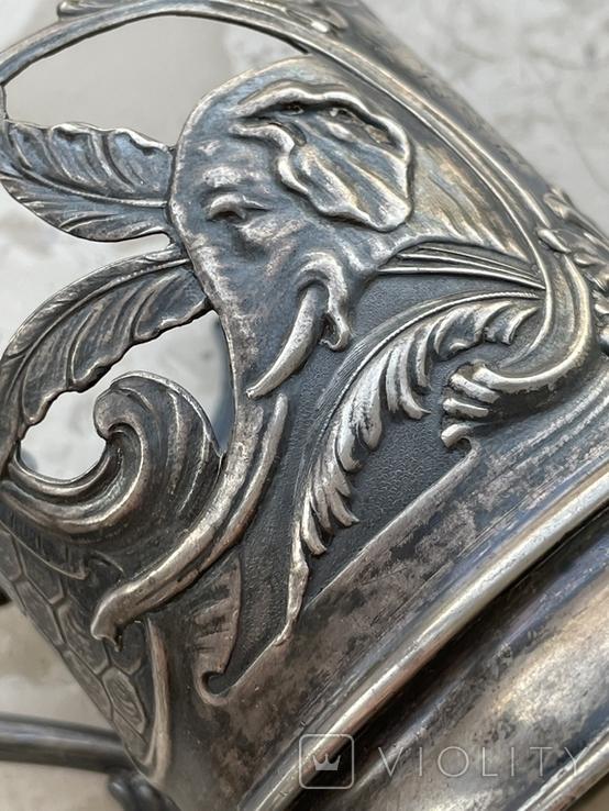 Пара подстаканников Слоны серебро 875 молотобоец СССР винтаж 50-х годов, фото №6