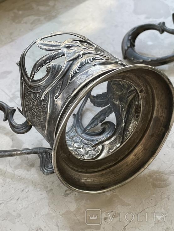 Пара подстаканников Слоны серебро 875 молотобоец СССР винтаж 50-х годов, фото №9