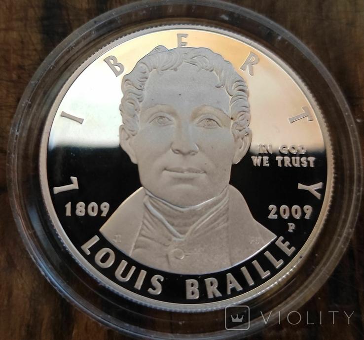 США 1 доллар 2009 г. Луи Брайль. 200 лет со дня рождения. Серебро. Пруф, фото №2