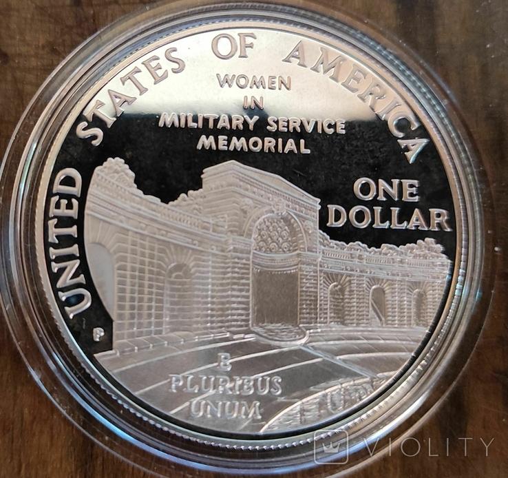 США 1 доллар 1994 Мемориал женщинам на военной службе. Пруф, фото №3