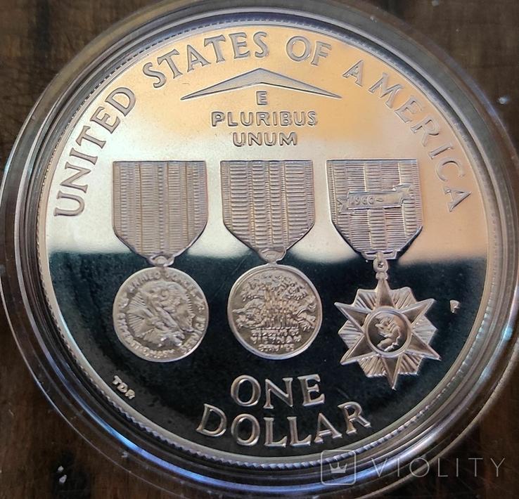США 1 доллар 1994 г. Мемориал ветеранов Вьетнама. Пруф, фото №3