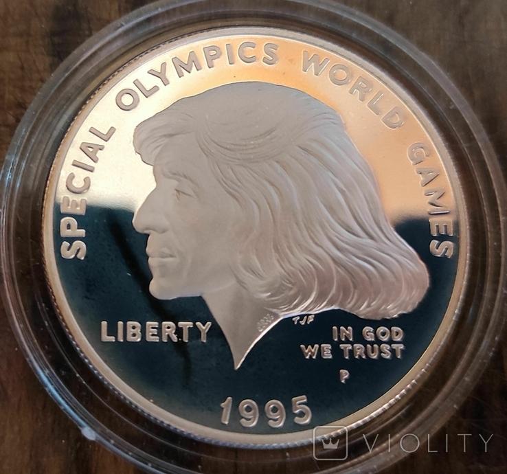 США 1 доллар 1995 г. Олимпийские игры, Спорт. Серебро Пруф, фото №2