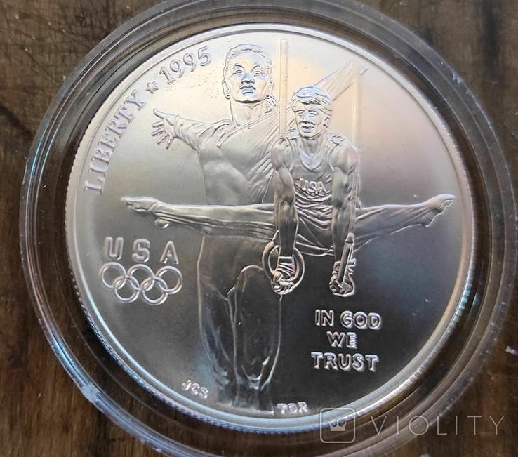 США 1 доллар 1995 г. Серебро. XXVI Летние Олимпийские игры 1996 года в Атланте., фото №2