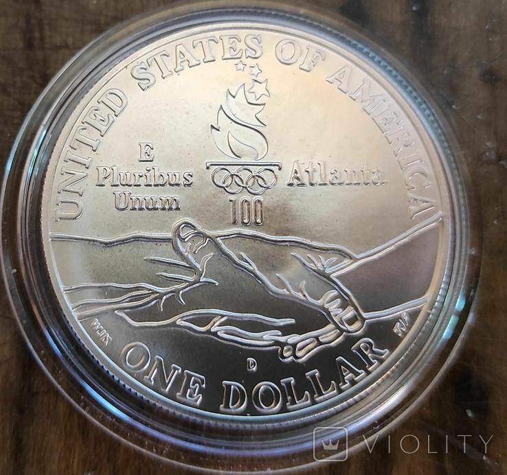 США 1 доллар 1995 г. Серебро. XXVI Летние Олимпийские игры 1996 года в Атланте., фото №3