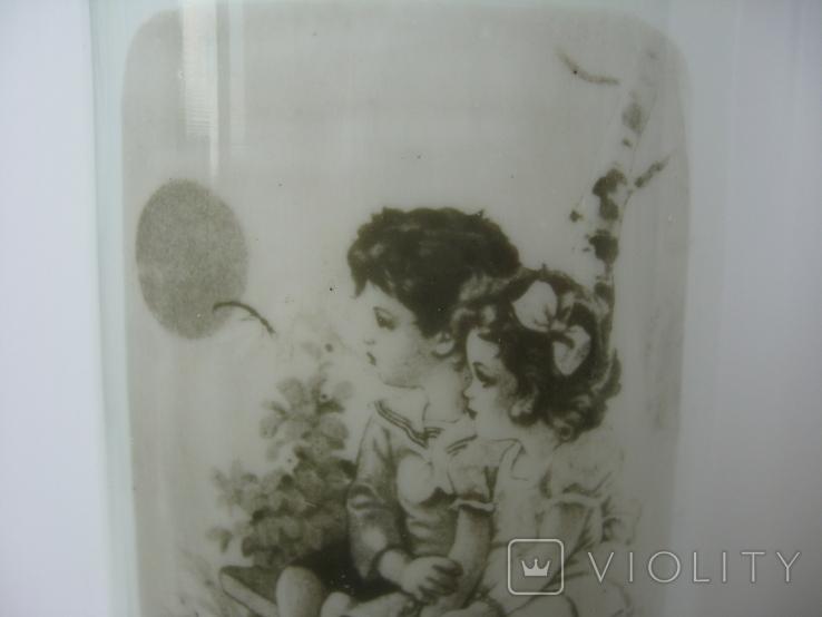 "Ваза старая ""Детки на лавочке"" молочное секло, фото №7"