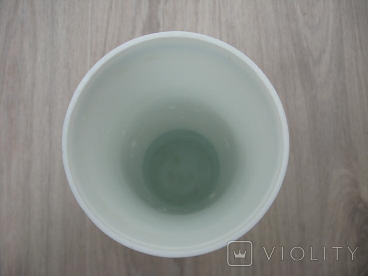 "Ваза старая ""Детки на лавочке"" молочное секло, фото №10"