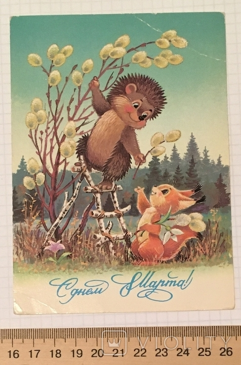 В. Зарубин, открытка чистая: С Днём 8 марта! (ёжик, белочка, цветы), 1987, фото №3