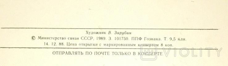 В. Зарубин, открытка чистая: С Новым годом! (белочка, конфета, подарок), 1989, фото №6