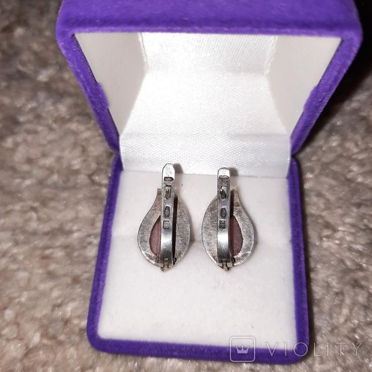 Серьги серебро 875 с золотой вставкой 585, фото №3