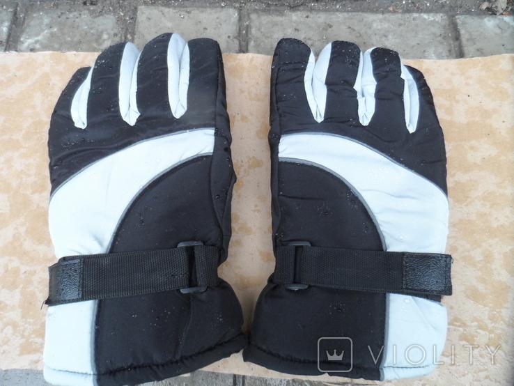Перчатки зимние черно-серебристые, фото №2