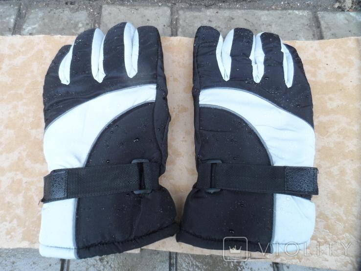 Перчатки зимние черно-серебристые, фото №3