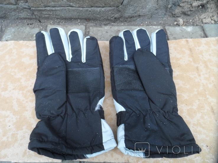 Перчатки зимние черно-серебристые, фото №5