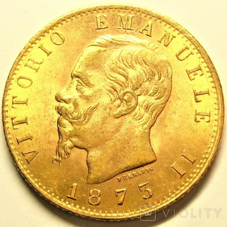 Италия 20 лир 1873 г.