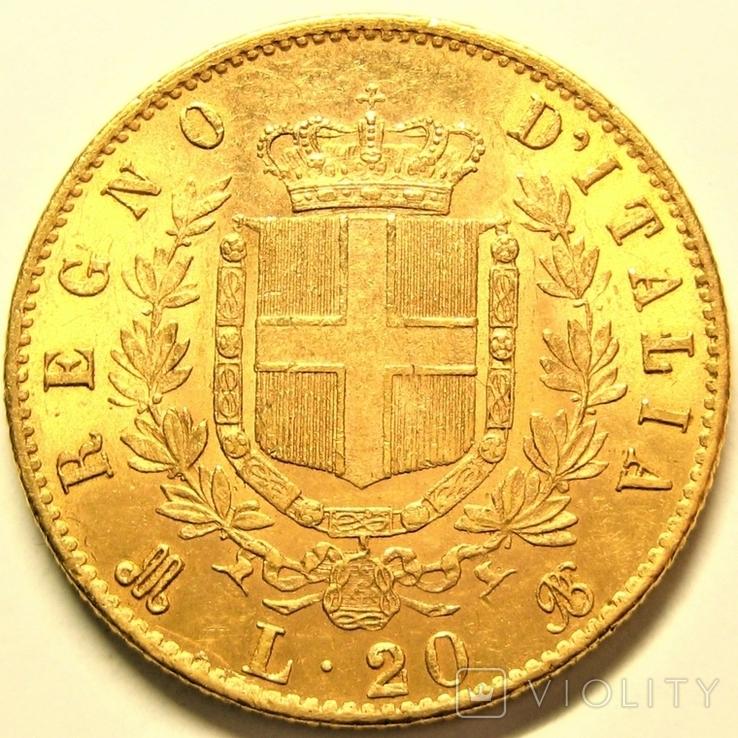 Италия 20 лир 1873 г., фото №3