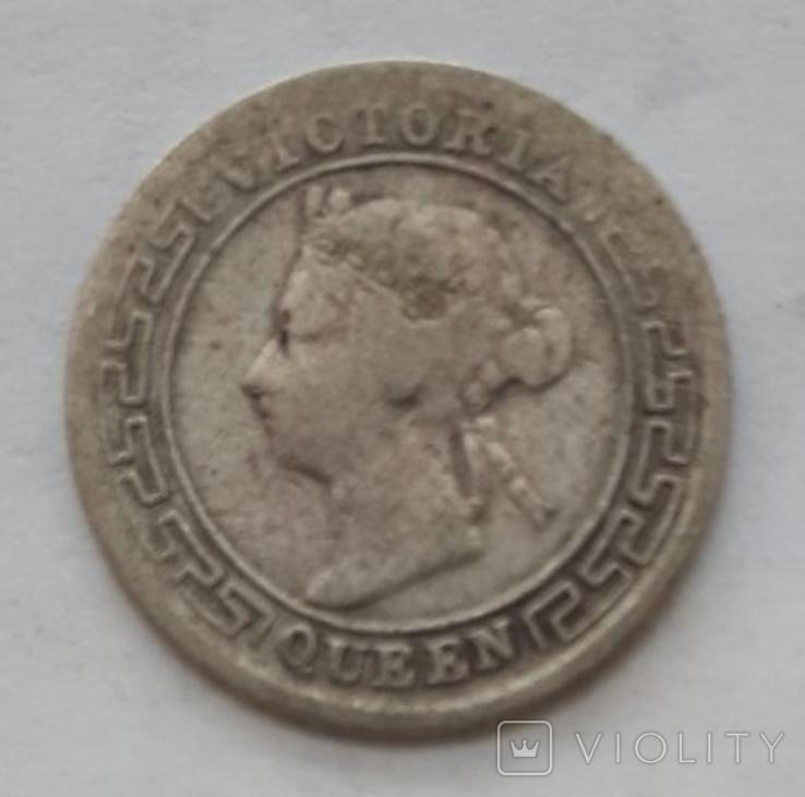 10 центов Цейлон Виктория 1894г. серебро, фото №2