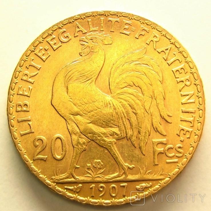 Франция 20 франков 1907 г., фото №3