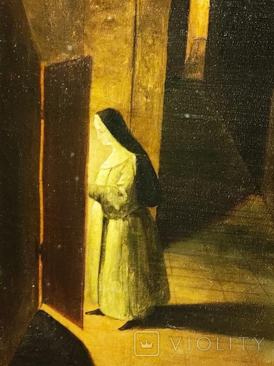 """""""В монастыре"""",19 век,х/м, фото №6"""