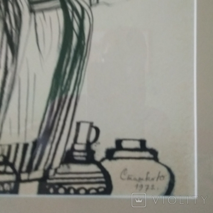"Закарпатская школа.ХУДОЖНИК Юлий Сташко.""На рынке""1972 год. 21 Х 30,в рамке 35 х 44., фото №7"