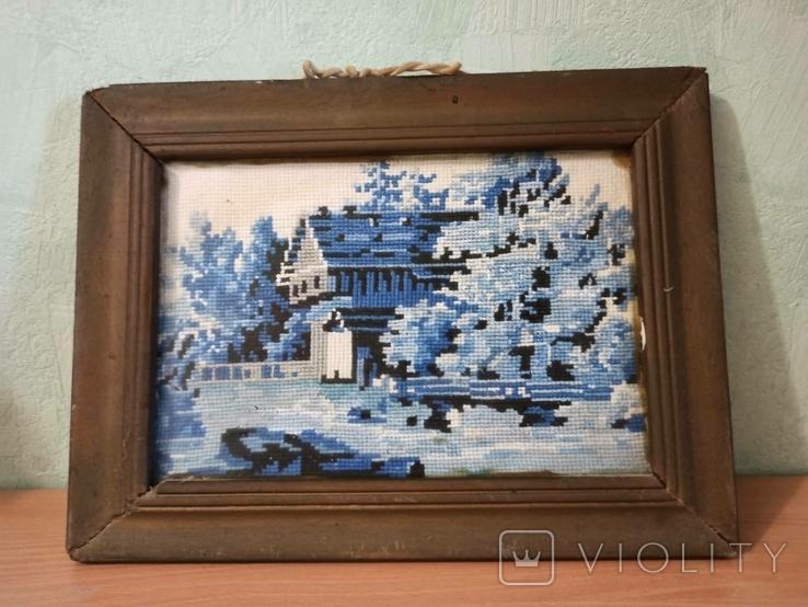 Картина - вышивка. Домик зимой., фото №2