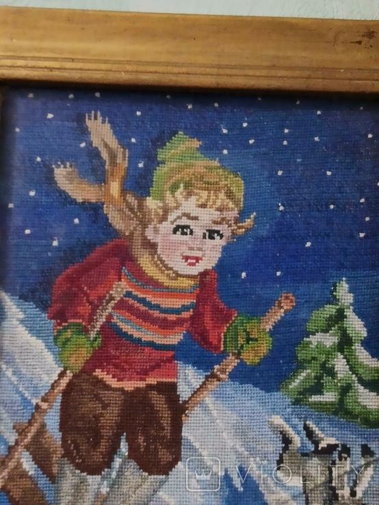 Картина-вышивка. Лыжник., фото №3