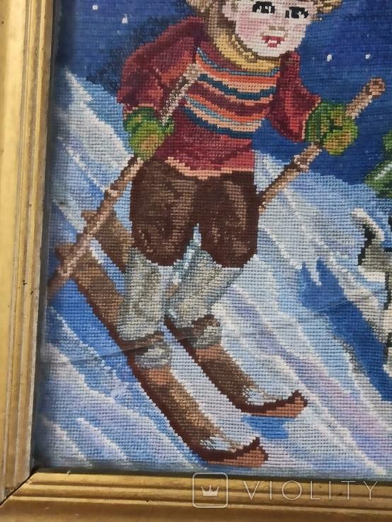 Картина-вышивка. Лыжник., фото №4