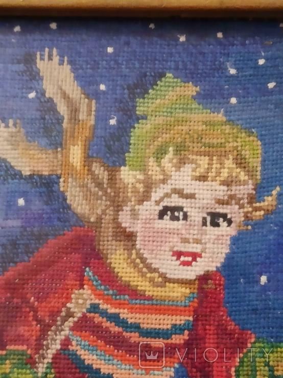 Картина-вышивка. Лыжник., фото №6